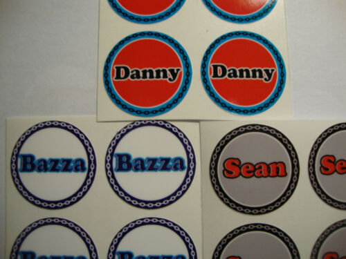 """DANNY  12 LAWN BOWLS STICKERS 1/""""   CROWN GREEN BOWLS FLAT GREEN INDOOR BOWLS"""