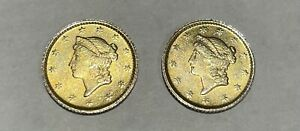 Find-From-Jewellers-Attic-Store-A-Pair-1853-Tallar-gold-Dollar-For-Earrings