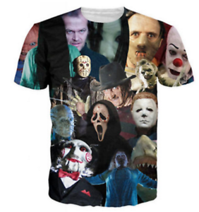 New Fashion Women//Men Horror Movie 3D Print Casual T-Shirt F56