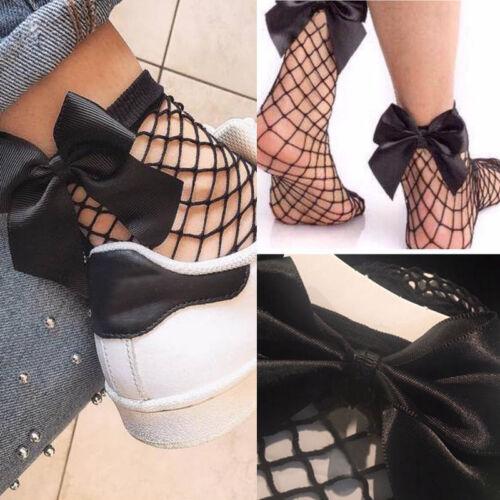 Bowknot Women Ruffle Fishnet Ankle High Socks Mesh Lace Fish Net Short Socks Hot
