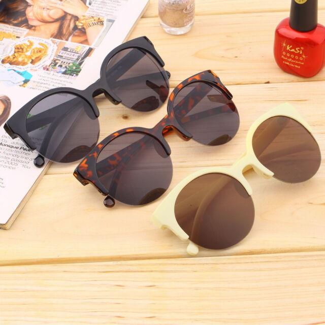 Retro Black Lens Vintage Men Women Round Frame Sunglasses Glasses Eyewear GA