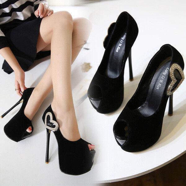 Sandali stiletto decolte 14 cm negro cuore plateau pelle sintetica eleganti 1210