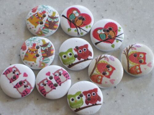 NEW 15 Modern Owl Design White Buttons 18mm FREE P/&P