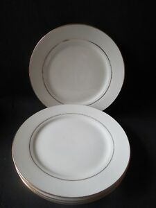 Gibson Everyday Set Of 4 Luncheon White With Gold Rim Nearly New