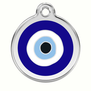 Engraved-Personalised-Dog-Cat-ID-Identity-Tags-Discs-Evil-Eye-Red-Dingo-1EE