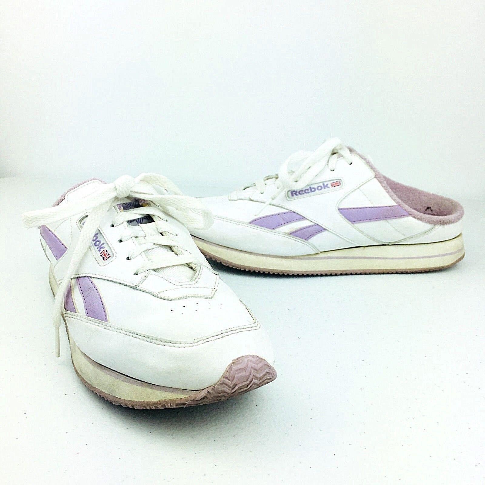 Reebok Damenschuhe Skeakers Schuhes WEISS Purple Slide Slip On Classic Vintage 80s 90s