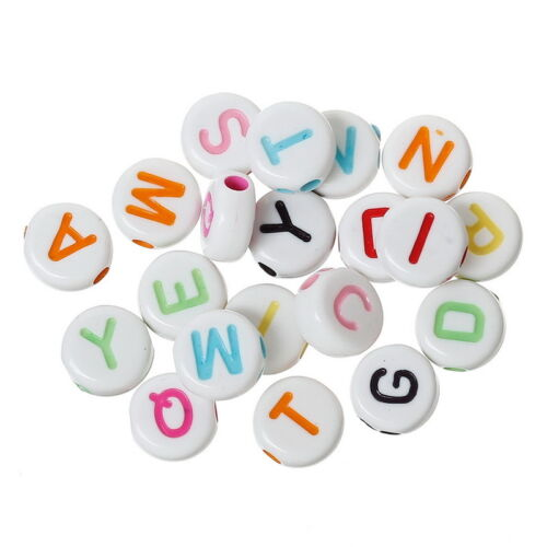 BO 1000PCs Multi-color Round Acrylic Beads Carved Letters//Alphabets 7 x7mm