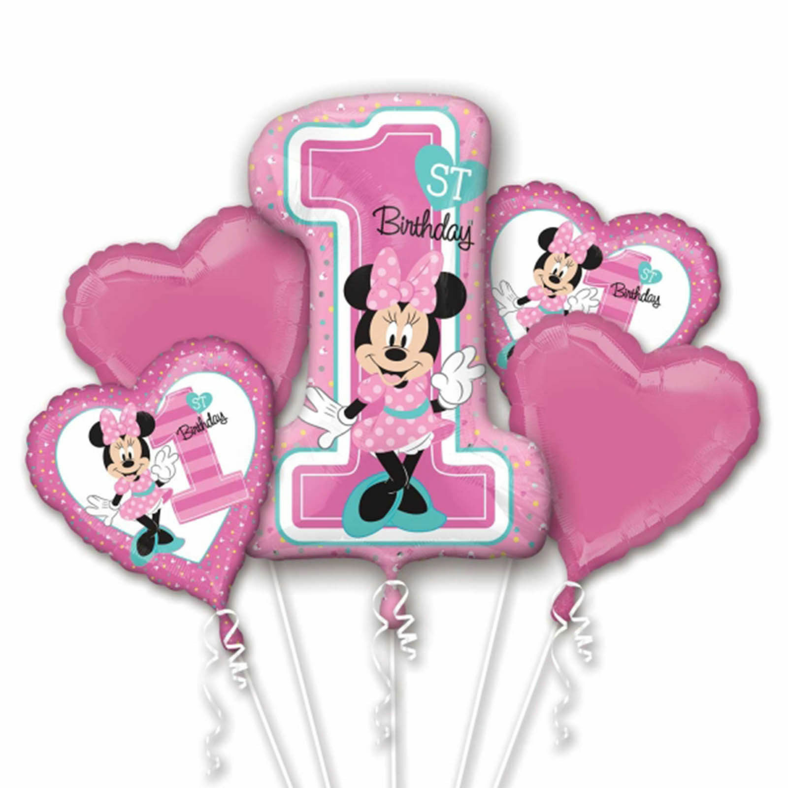 NEW Baby Minnie Mouse 1ST Birthday Balloon Bouquet Party