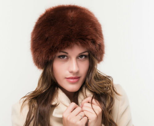 NEW LADIES BROWN COLOUR  FAUX FUR OUTDOOR WINTER CLOCHE STYLE HAT WARSAW