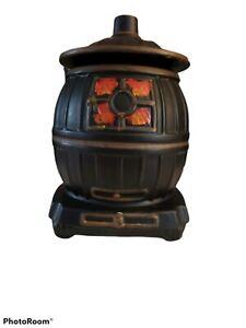 McCoy Pottery Pot Belly Stove Cookie Jar 10in Black Vintage Canister Oven