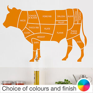 s l300 beef cow cuts of meat diagram wall sticker home decor kitchen ebay