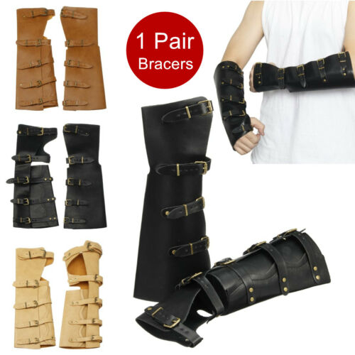 1 Pair Leather Bracers Men Fashion Arm Vintage Cuffs Party Cosplay Costume  UK!