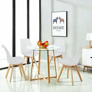 Detalles de EGGREE Mesa y sillas redondas de vidrio para comedor Conjunto  de sillas de mesa