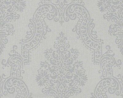 AS Creation Elegance 2 Vlies Tapete 936773 grau Textil Struktur Barock Floral