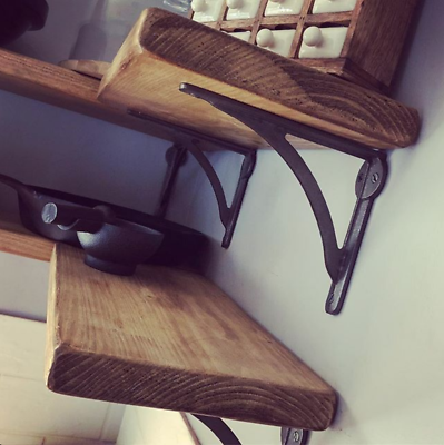 Rustic Floating Wooden Shelf Industrial Shelves Solid Chunky 3.2cm Wood