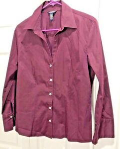 Banana-Republic-Women-Wine-Stretch-Button-Down-3-4-Sleeve-Shirt-Size-L-18-40x25
