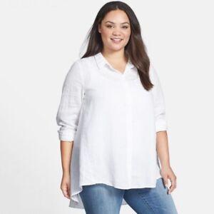 Eileen-Fisher-Classic-Collar-Irish-Linen-Shirt-Women-039-s-Plus-Size-1X