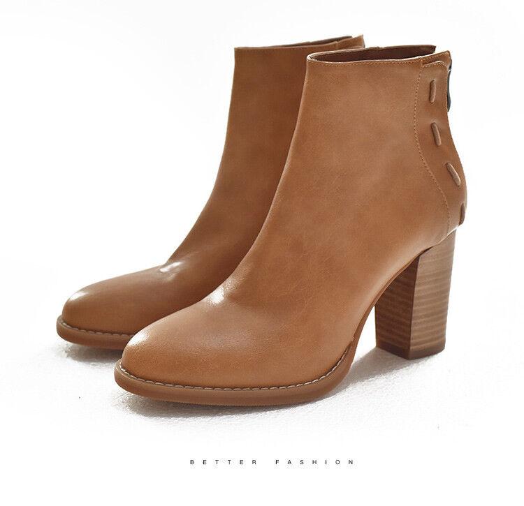 Bloque Bloque Bloque de las Señoras Tacones Altos botas al Tobillo Zapatos De Moda Cremallera Trasera Combate Militares Talla  cómodamente