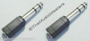 2X-1-8-034-3-5mm-Female-Jack-to-1-4-034-Male-Plug-Stereo-Headphone-Audio-Adapter-VWLTW
