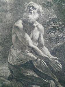 Grande gravure Saint Jérôme par J. B. Mola & Rousseau grand format XIXème siècle