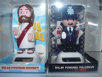 2 X SOLAR DASHBOARD NEW NOVELTY DANCING FLIP FLAP PAL (Jesus/ Policeman)