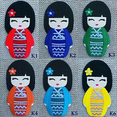 Japanese Kokeshi Doll Japan Vintage Cute Girl Applique Sew Iron on Patch