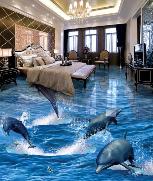 3D Dolphin Jump 73 Floor WallPaper Murals Wall Print Decal 5D AU Lemon