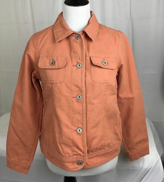 821433b79f NWT DRI Duck For Her Womens Trendy Jean Jacket Orange Rivet Buttons Sz Small