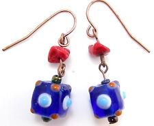 Shades Of Blue Venetian Art Glass Beaded Dangle Drop Copper Tone Earrings*E248