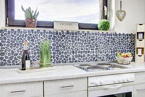 Details zu Fliesenspiegel Küche geschnitten grau schwarz anthrazit  Flußkiesel 30-0302_b