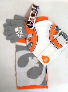 Star Wars BB8 Boy s 3 Piece pc Hat Scarf Gloves Set NWT OSFM Disney ... 2fbdb9060b92