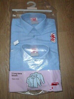Diplomatico John Lewis Girl's School Long Sleeve Camicia Blusa Confezione Da 2 3 Anni Blu Nuovo-mostra Il Titolo Originale