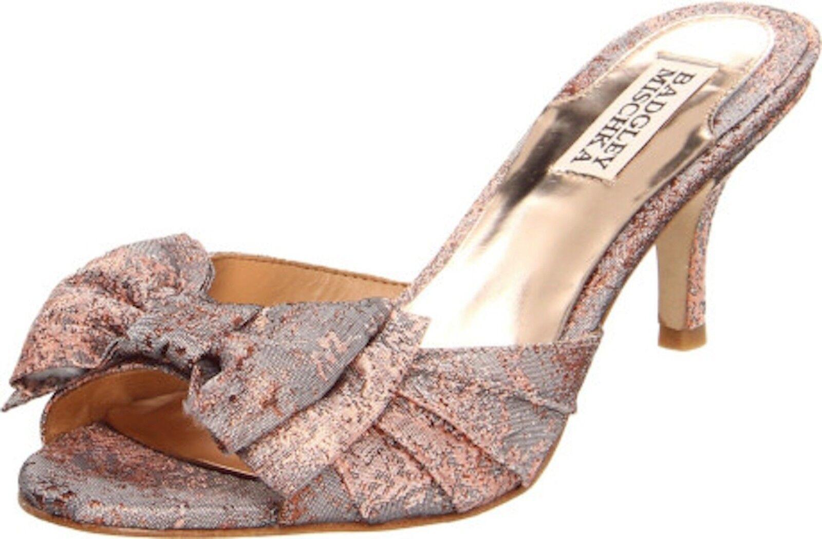 NIB Badgley Mischka MADDY bridal formal sandals slip on shoes w/BOW Rose 8
