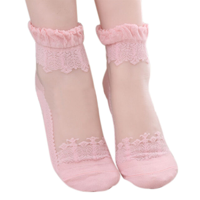Sweet Lady Ultrathin Transparent Lace Crystal Silk Flower Short Stretch Socks