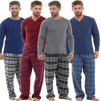 Mens Check Fleece Bottoms & Cotton Jersey Top Pyjama Sets PJs Loungewear S M L X