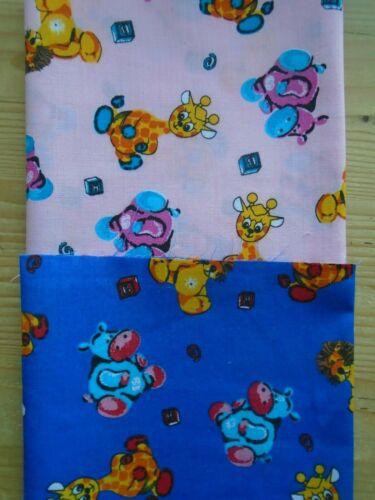 3 Fat Quarter Bundle Blue /& Pink Jungle Animals /& Plain Pink Crafting Craft New
