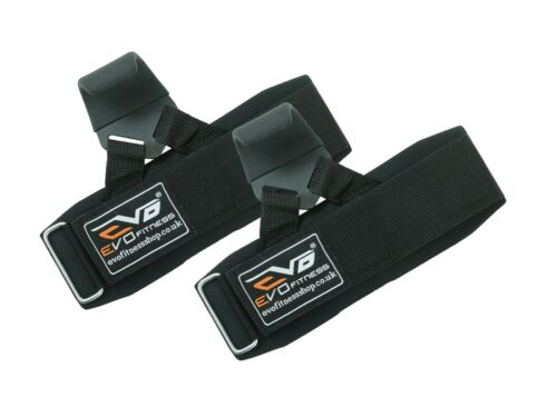 EVO Weight lifting Metallic Hook Gym Straps Neoprene wrist Support Wraps grips