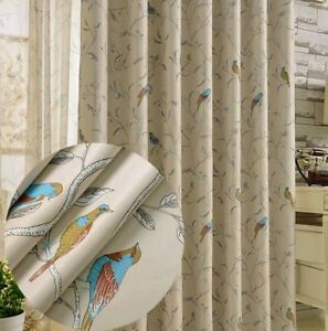 2PANELS-Floral-Bird-Beige-Blockout-Curtain-Country-Provincial-Cottage-Curtains