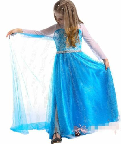 Kids Girl/'s Elsa  Dresses Costume Princess Anna Party Dresses Cosplay Xmas Gifts
