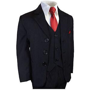 Festlicher-Kinderanzug-Set-6tlg-blau-tailliert-KA60-rote-Krawatte