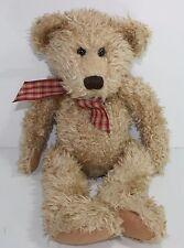 "Russ Toffee Teddy Bear 18"" Doll Plush Stuffed Animal Gingham Bow Floppy Bean"