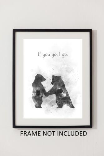 B /& W Friend Love Inspirational Wall Art Wedding Gift ART PRINT Bear Quote