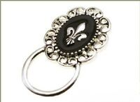 Antiqued Oval Shaped Fleur De Lis Id Badge Or Eyeglass Holder Pin Black Center