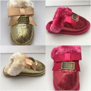 KIDS GIRLS  FUR LINED SLIPPERS  MULES NON SLIP RUBBER SOLE SEQUIN SLIP ON SHOES