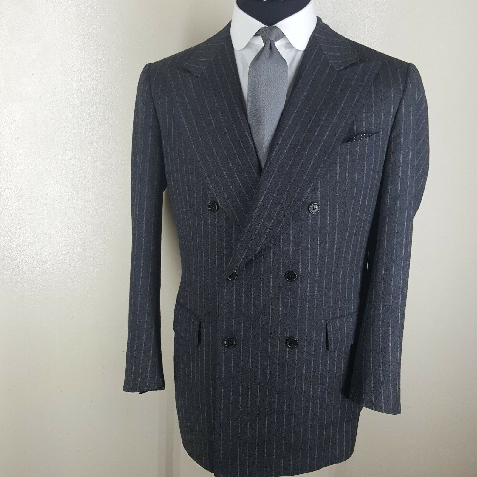 LUCIANO BARBERA  Double Breasted grau Stripe Sport Coat  Side Vents 44 Long Mint