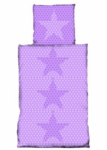 4 teilige Bettwäsche 135x200 cm Sterne Stars lila weiß violett Microfaser Set