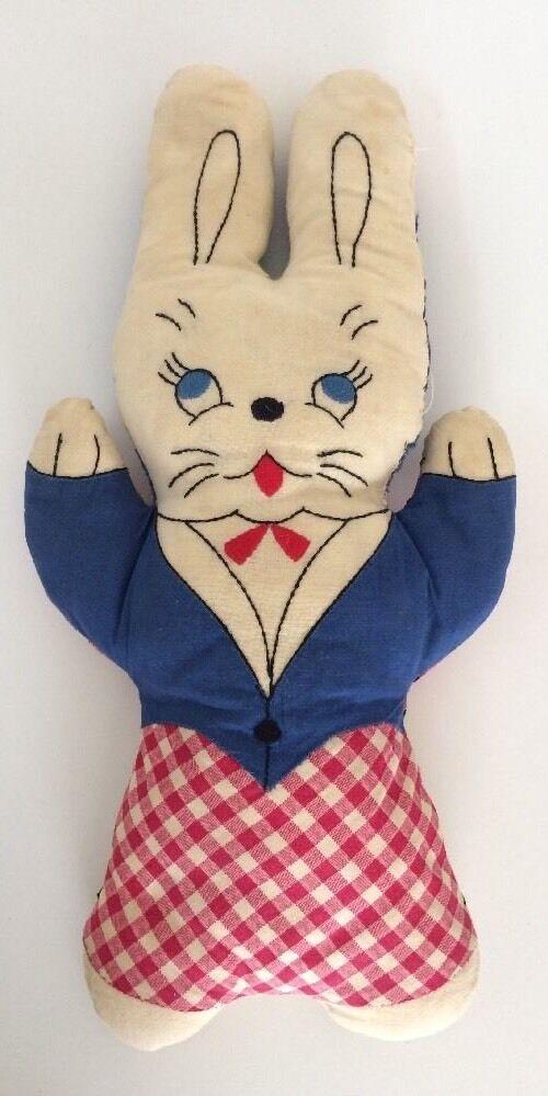 Reversible Vintage Red White bluee Rabbit Bear Stuffed Toy