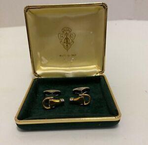 Vintage sterling silver Snaffle horse bit blue enamel equestrian bracelet Italy
