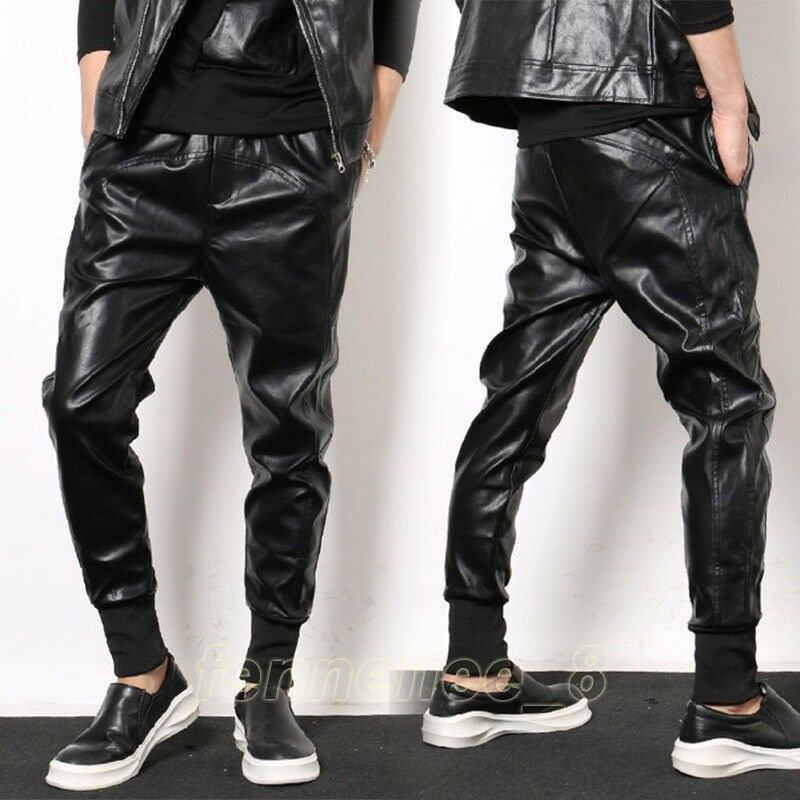 Hot NEW Mens  Leather Casual Baggy Harem Dancing Pants Hip-hop Jogger Trousers