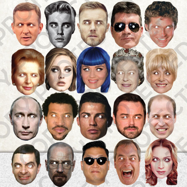 CELEBRITY FACE PARTY MASK FANCY DRESS HEN BIRTHDAY MASKS FUN STAG DO NIGHT Lot